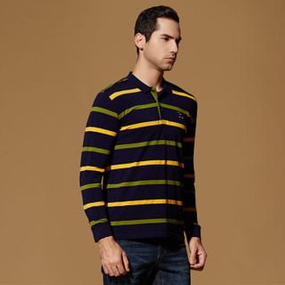 富贵鸟(FUGUINIAO)T恤男polo衫翻领横条纹秋冬季修身男士棉质体恤上衣   绿色 M