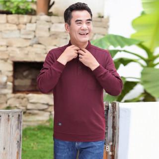 富贵鸟长袖T恤男装2019春季翻领中老年高含棉量纯色爸爸装体恤 枣红色 170/88A(L)
