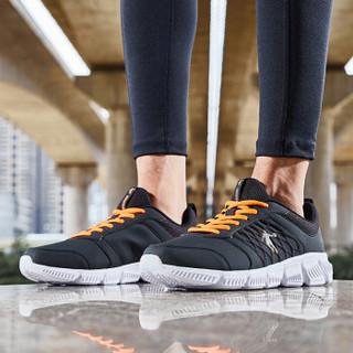 QIAODAN 乔丹 男鞋运动鞋男士跑鞋轻便耐磨休闲透气革面跑步鞋 XM4580230B 黑色/闪亮橘 41