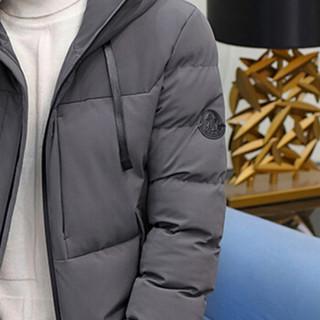 卡帝乐鳄鱼(CARTELO)2018秋冬新款男士时尚休闲纯色连帽保暖棉服外套1722灰色XL