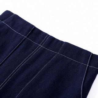 Sentubila 尚都比拉  撞色明线开衩半身裙女春季女装新品通勤OL职业百搭 183Q0421678 藏蓝色 XL