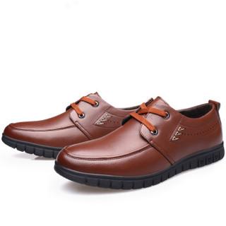 意利船长 男士系带商务休闲圆头正装皮鞋 7253 棕色38码