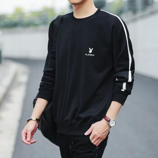 花花公子(PLAYBOY)卫衣2018秋季男士修身套头长袖T恤韩版圆领上衣男装 黑色(加绒) 2XL