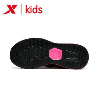 特步童鞋 女童鞋全掌气垫跑步鞋2018秋冬季新款儿童鞋子中大童运动鞋 682314119070 黑 33