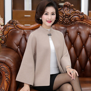 仙丫 2019春季新品女装中老年妈妈装外套针织开衫40-50岁外套 GZ92836 灰色 XL