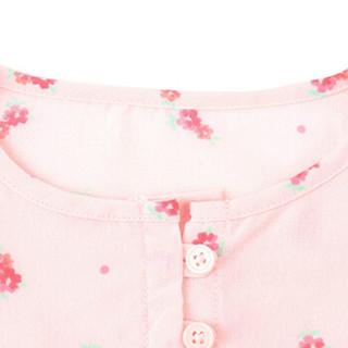 Gap旗舰店 女婴幼童 妙趣图案荷叶边长袖睡裙368682 秋装 浅粉色 5YRS
