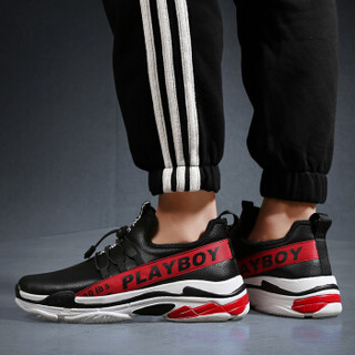 PLAYBOY 花花公子 男士韩版潮流运动透气慢跑休闲鞋 CX39465Q 黑红 40