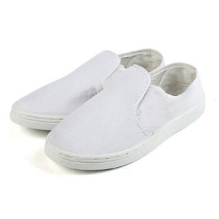 谋福 8060 防静电帆布鞋男女四季通用实验室无尘工作鞋 PVC帆布鞋白色 43