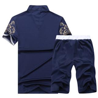 稻草人(MEXICAN)短袖套装男2019夏季新款短袖T恤纯色休闲短裤运动套装男装打底衫 蓝色 XL