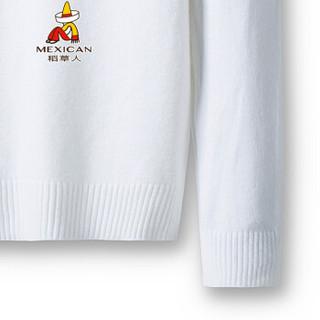 稻草人(MEXICAN)针织衫男纯色高领修身毛衣男士保暖打底衫上衣 601 白色 M