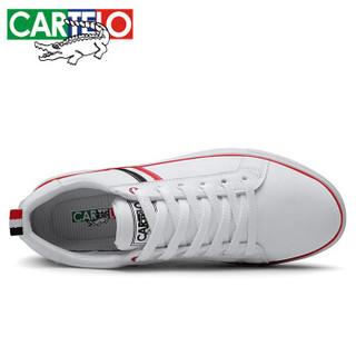 CARTELO 卡帝乐鳄鱼 百搭时尚低帮系带运动休闲户外耐磨防滑板鞋男 QH1316 白色 44