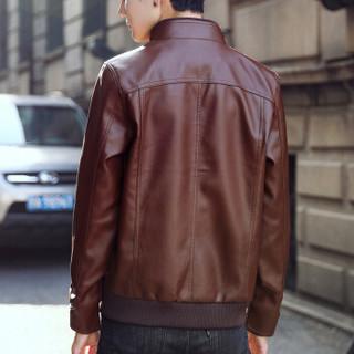 稻草人(MEXICAN) 夹克男2019春秋新款男装外套男士青年立领皮衣休闲夹克衫 18169DC9960 棕色 M