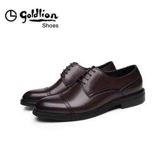 金利来(goldlion)男士都市正装舒适轻便皮鞋52084010843A-深棕色-38码