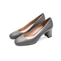 le saunda 莱尔斯丹 时尚优雅通勤OL职业圆头套脚粗跟女单鞋 LS 9T59001 灰色羊皮革 37