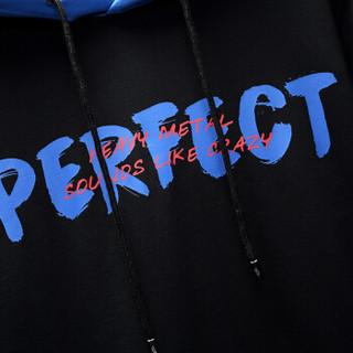 花花公子(PLAYBOY)卫衣男连帽2019春装新款韩版拼接宽松潮流字母长袖男装 黑色 S