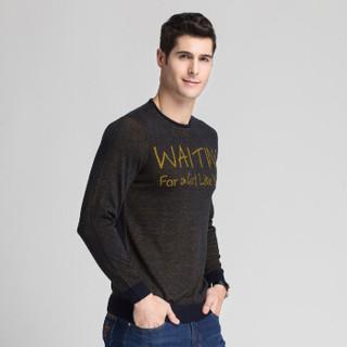恒源祥针织衫男士圆领秋冬季中年男装长袖套头毛衣 黄色 165/84A(105)