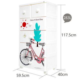 禧天龙Citylong 五层宝宝抽屉式收纳柜环保塑料衣柜可爱自行车印花储物柜 5177