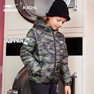 鸿星尔克(ERKE)童装儿童运动服男童保暖时尚休闲羽绒夹克63218412017绿莺色150码