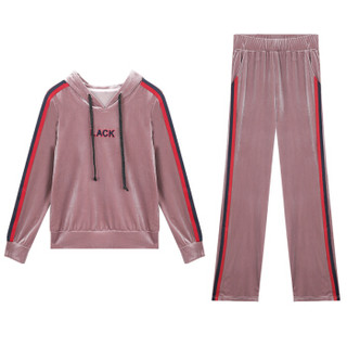 BANDALY 2018秋季自营女装新品卫衣女金丝绒套装女休闲运动服两件套 HZCZ5028-8638 暗粉色 XL