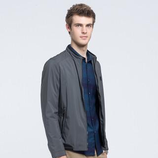 骆驼(CAMEL)男装 青年时尚韩版休闲纯色立领商务夹克外套男D8F245534暗灰M