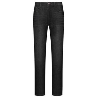七匹狼牛仔裤2018冬季新款商务休闲男士时尚合体加绒牛仔长裤 001(黑色) 36A