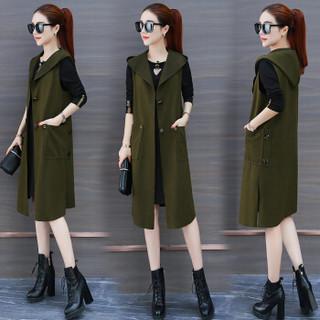仙丫 秋冬季新品女装连衣裙女气质韩版时尚两件套套装 GZZ92514 卡其色 M