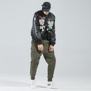 富贵鸟(FUGUINIAO)工装裤2019春季新款潮牌束脚裤嘻哈宽松hiphop小脚裤子 军绿 4XL