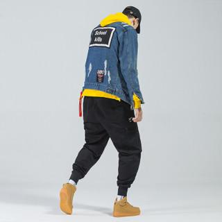 富贵鸟(FUGUINIAO)工装裤2019春季新款潮牌束脚裤嘻哈宽松hiphop小脚裤子 黑色 2XL