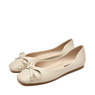 Josiny 卓诗尼 女低跟方头浅口时装休闲轻便蝴蝶结水钻芭蕾舞平底单鞋J121D910J931 米白色 36