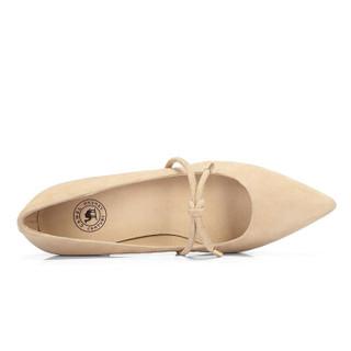 CAMEL 骆驼 时装系列 女士 优雅甜美蝴蝶结扣饰粗跟单鞋 A91901625 杏色 36