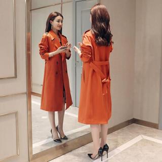 莉夏乐 2019春装新品风衣女装通勤西装领纯色双排扣中长款常规长袖修身涤纶 cchnzMHYM8002 红色 S