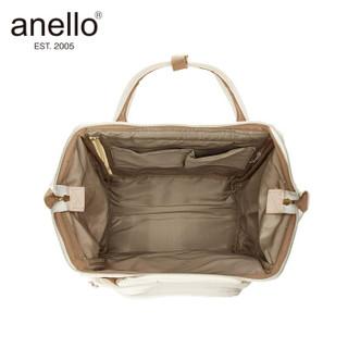 日本anello 离家出走妈妈包帆布中号小号双肩背包B0481A米白色