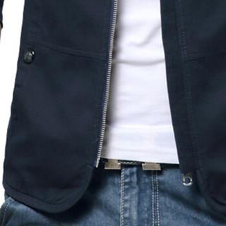 卡帝乐鳄鱼(CARTELO)夹克 男士简约纯色立领潮流大码夹克外套QT2021-780蓝色3XL
