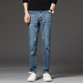 凯撒(KAISER)牛仔裤 男2019春季新款修身小脚舒适时尚青年休闲牛仔男士长裤 Q913-N8619 深蓝色 27