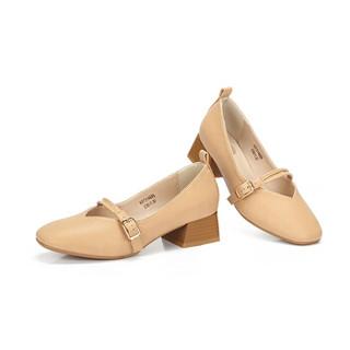 CAMEL 骆驼 女士 文艺复古腕带方头粗跟单鞋 A91514689 粉杏 40