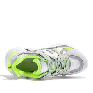 森马 Senma 时尚潮流拼色系带运动休闲韩版户外跑步鞋女 229114204 白绿色 37码