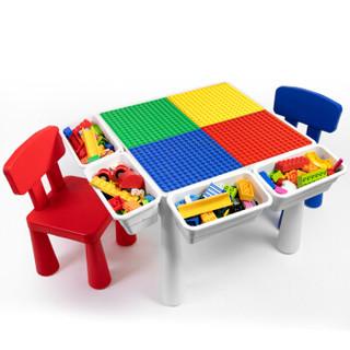 万高(Wangao)儿童玩具拼装大颗粒兼容乐高积木桌子2-3-6周岁多功能收纳男孩女孩游戏学习桌拼装393