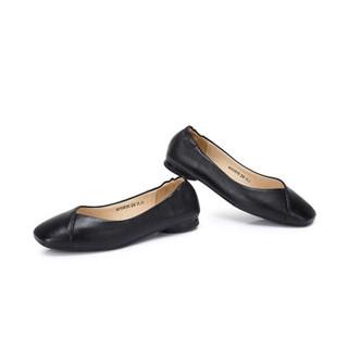 CAMEL 骆驼 女士 文艺舒适牛皮方头套脚单鞋 A915046183 黑色 39
