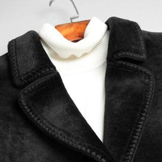 SINBOS 羊剪绒男士皮毛一体2018冬季新品羊绒大衣中长款海宁皮草外套 黑色 165
