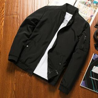 凯撒(KAISER)夹克 男2019春季新款棒球服韩版休闲运动男士青年修身帅气外套 Q913-7802 黑色 XL