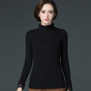 丽乔 2019春季新款针织衫女套头卷边领蕾丝边弹力打底百搭修身毛衣女 FFXMY9506/9507 9507焦糖 XL