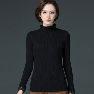 丽乔 2019春季新款针织衫女套头卷边领蕾丝边弹力打底百搭修身毛衣女 FFXMY9506/9507 9506纯白色 XL