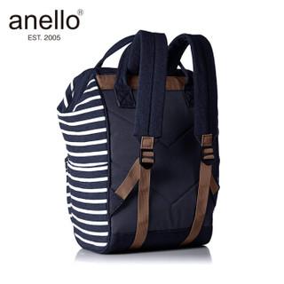 日本anello 离家出走棉质运动款金属支架双肩背包B0911A深蓝条纹