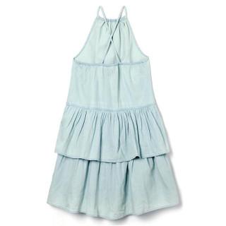 Gap旗舰店 童装女孩棉质天丝吊带分层式牛仔连衣裙 306893 中度靛蓝 150cm(XL)