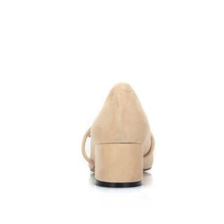 CAMEL 骆驼 时装系列 女士 优雅甜美蝴蝶结扣饰粗跟单鞋 A91901625 杏色 38