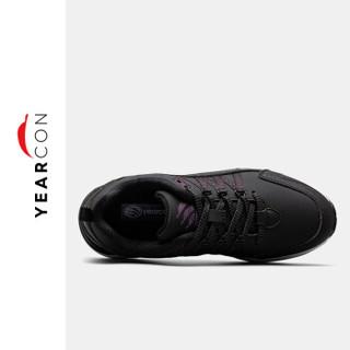 YEARCON 意尔康 户外休闲时尚潮流舒适运动女鞋E64801402 玛瑙黑/暗队红 37