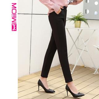 猫人(MiiOW)女裤新款三层夹棉保暖裤加厚休闲裤女铅笔小脚裤 M859690 黑色 L