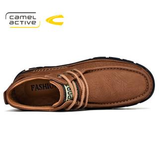 camel active 德国骆驼 男鞋子 男士时尚户外 牛皮耐磨复古百搭 高帮休闲 56170 棕色(系带) 43