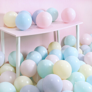 雨花泽 马卡龙色气球100个送打气筒 糖果色生日主题宝宝周派对气球浪漫婚房布置 清新绿色系