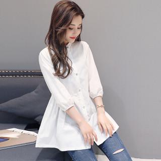一塘晨春装女2019新款韩版七分袖收腰简约纯色单排扣中长款休闲衬衫S81R0236CA7M 白色M